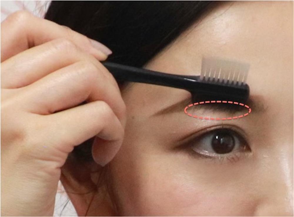 【眉が濃い人向け】眉コームや指を使って眉毛の長さを整える