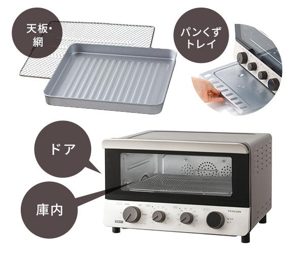 コンベクションオーブンの掃除が必要な部分